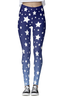 White Stars Blue Ombre Leggings