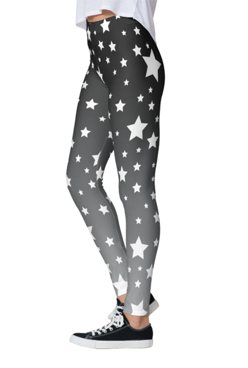 White Stars Gray Ombre Leggings