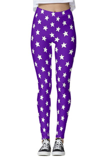 Purple & White All-Star Leggings