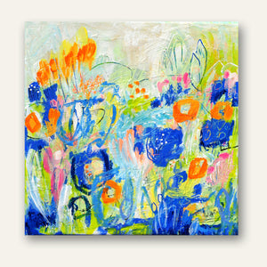 "A Happy Beat Floral #1  - 12""x12"""
