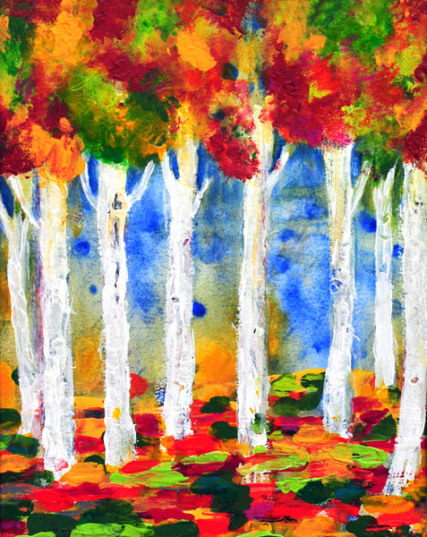 "Colorful Aspens -12""H X 9""W"