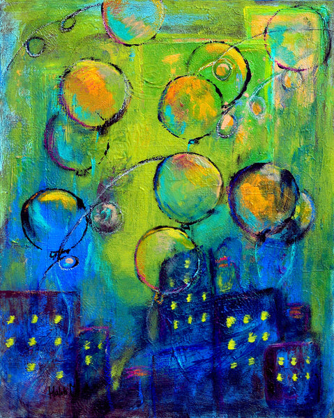 "Balloons over city - 20""HX16""W"