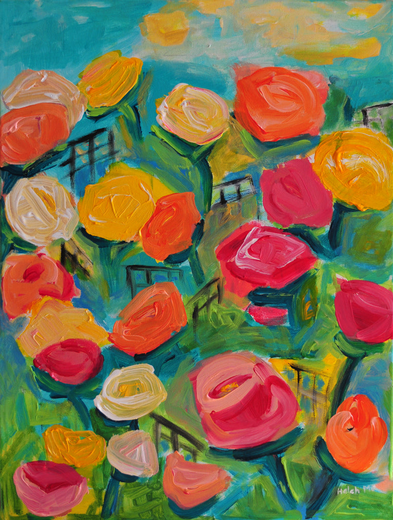 "Stroll in Rose Garden - 24""Hx18""W"