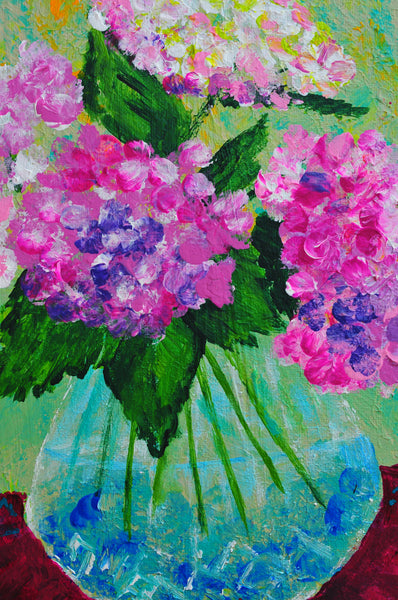 "Hydrangeas from my garden - 12""H X 9""W"