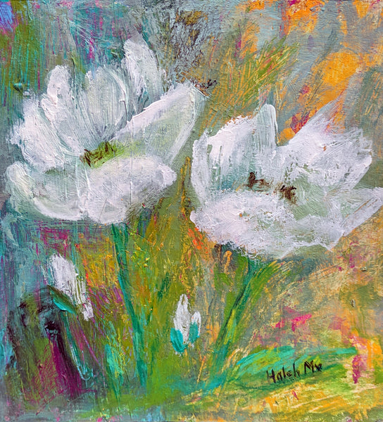 "Purity of White Flowers 8""x8"""