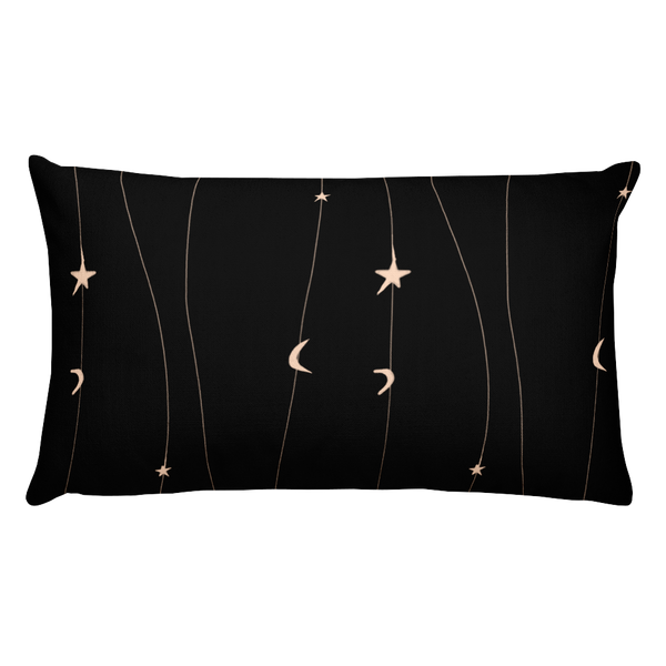 Black Moon and Stars Pillow