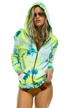 Load image into Gallery viewer, Neon Yellow Hand Dyed Zip Hoodie - ONFEMME By Lindsey's Kloset