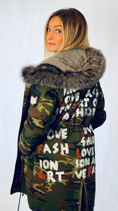 Custom Hand Painted Camouflage Coat - ONFEMME By Lindsey's Kloset
