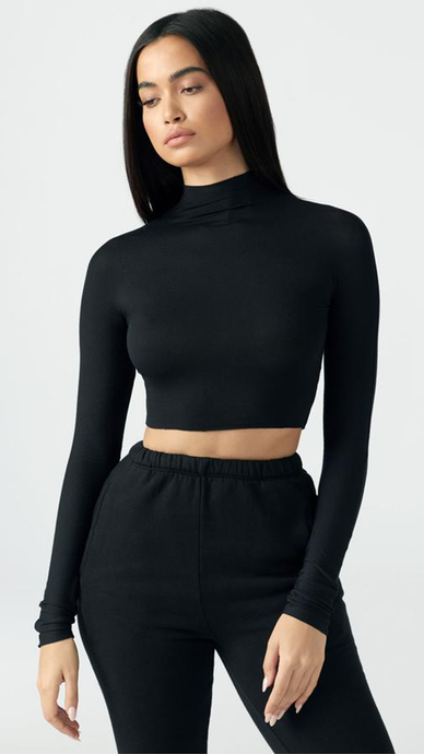 Cropped Mock Neck Long Sleeve - Lindsey's Kloset