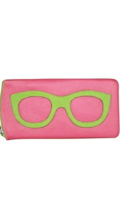 Pink Leaf Leather Eyeglass Case - Lindsey's Kloset