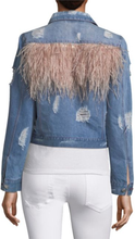 Load image into Gallery viewer, Feather Panel Distressed Denim Jacket - Lindsey's Kloset