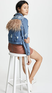 Feather Panel Distressed Denim Jacket - Lindsey's Kloset
