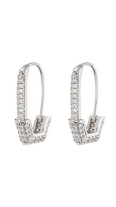 Pave Hex Safety Pin Earrings - ONFEMME By Lindsey's Kloset