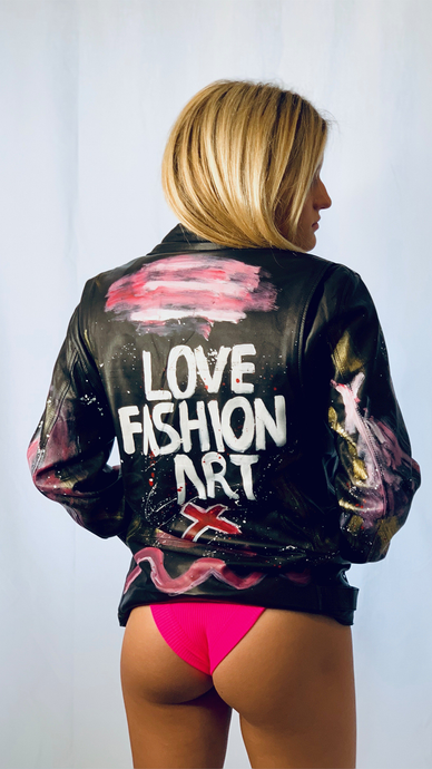Oversized Hand Painted Soft Leather Biker Jacket - Lindsey's Kloset