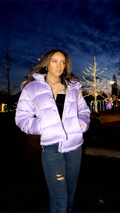 Lilac Satin Puffer Jacket - ONFEMME By Lindsey's Kloset