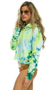Neon Yellow Hand Dyed Pullover Crop Hoodie - Lindsey's Kloset
