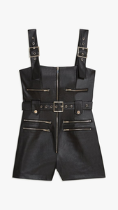 Vegan Leather Moto Short Overalls - ONFEMME By Lindsey's Kloset