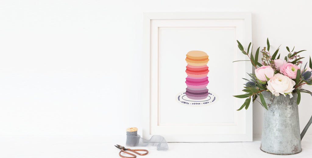 Stacked French Macaron Art Print by onderkast studio