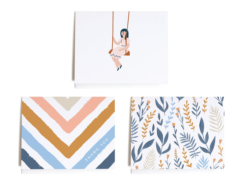 Whimsical Chevron Assorted Notecard Set - onderkast-studio