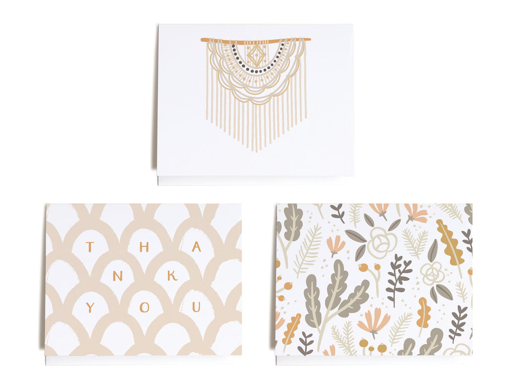Neutral Boho Assorted Notecard Set - onderkast-studio