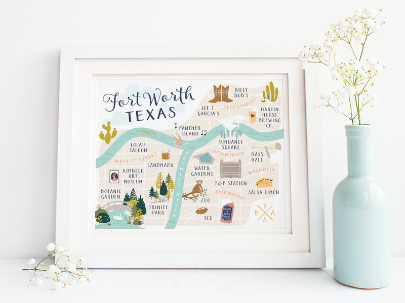 Fort Worth Map Art Print - onderkast-studio