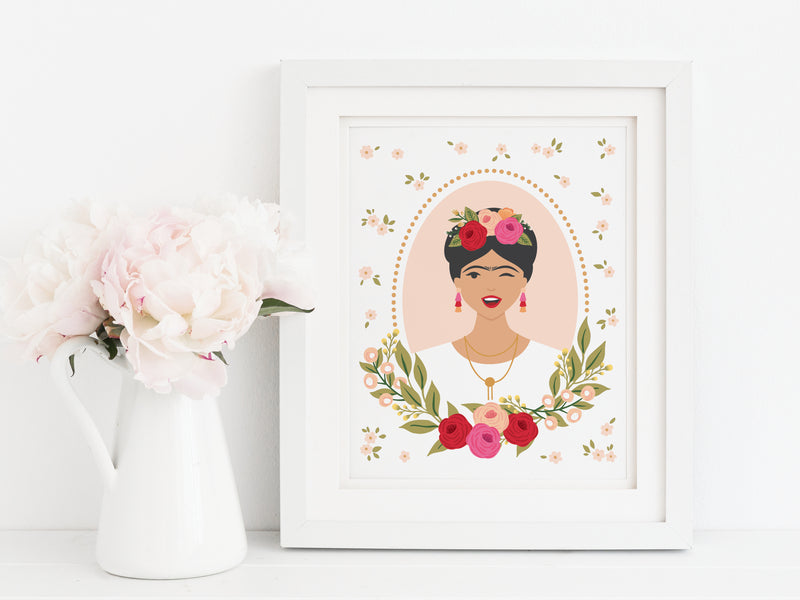 Floral Hair Frida Art Print - onderkast-studio