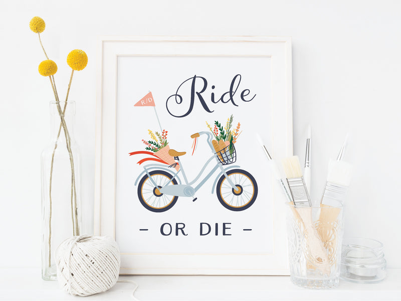 Ride or Die Bicycle Art Print - onderkast-studio