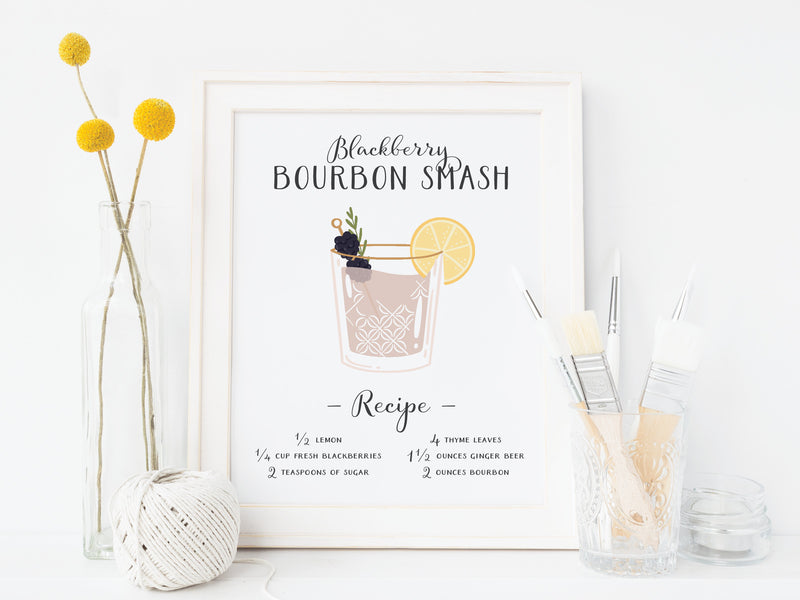 Blackberry Bourbon Smash Cocktail Art Print