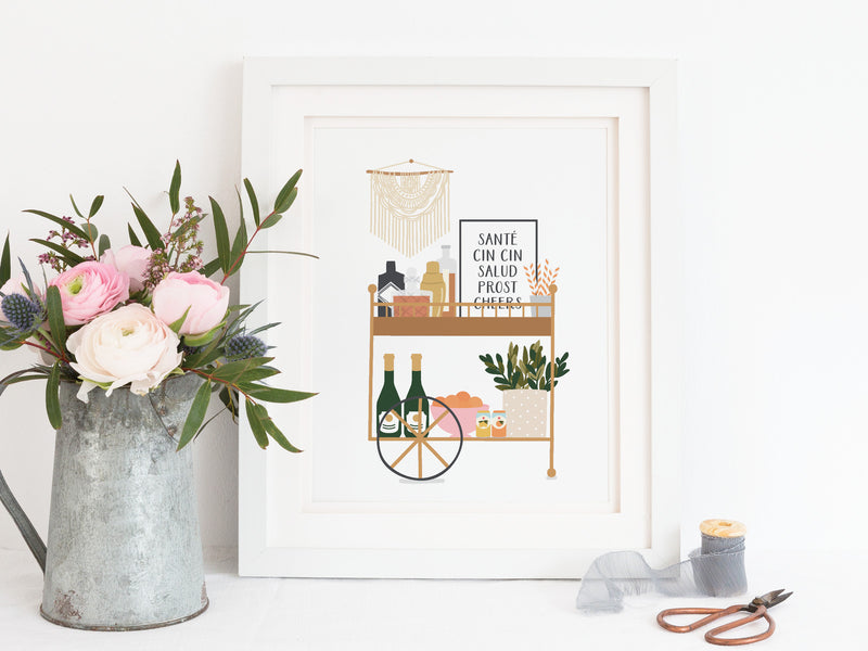 Liquor Bar Cart Art Print
