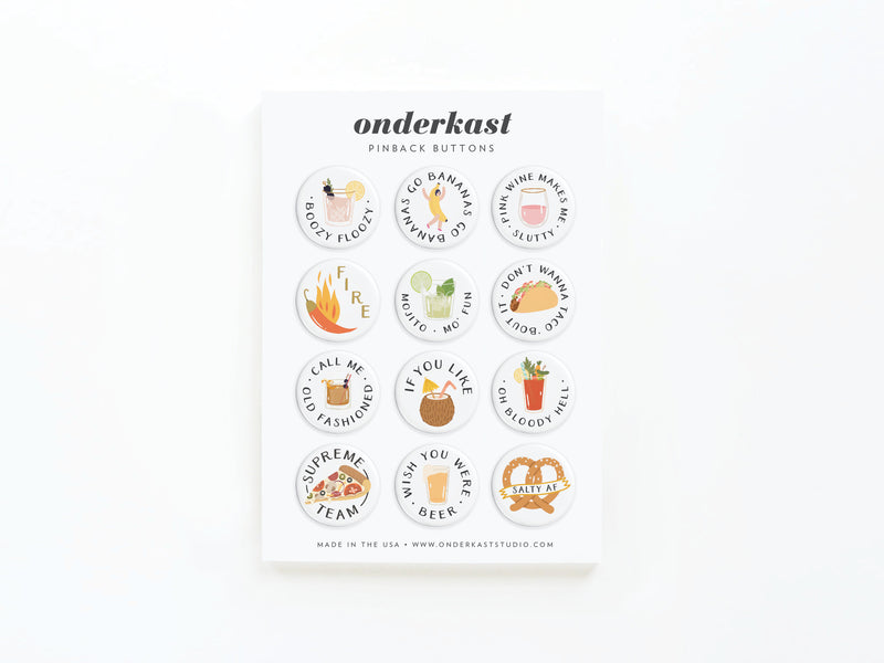 Food & Drink Pinback Button Set of 12
