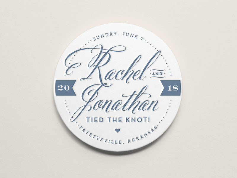 Whimsical Typography Letterpress Coaster