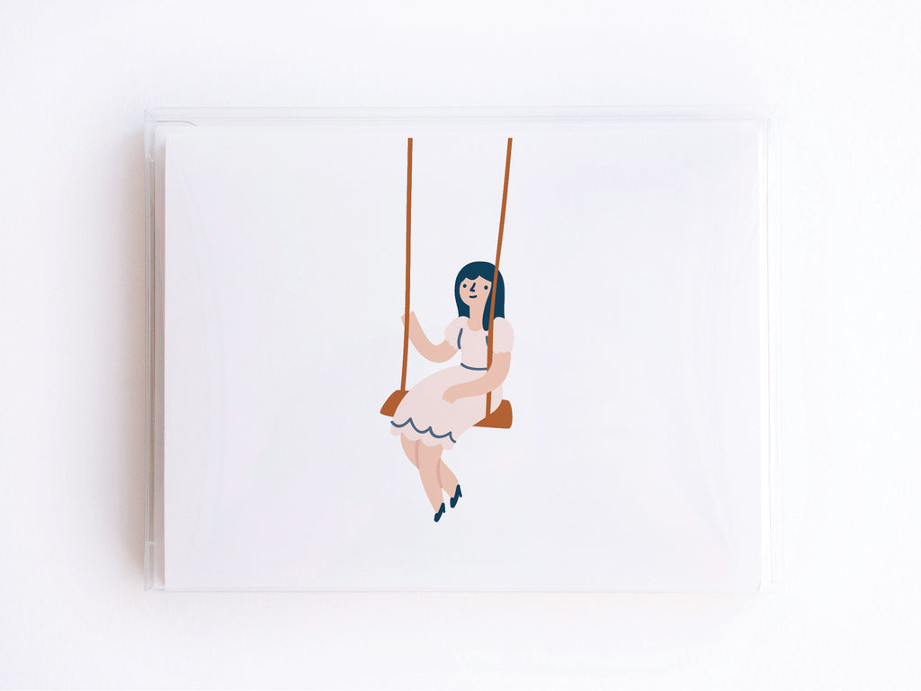 Girl on a Swing Notecards - onderkast-studio