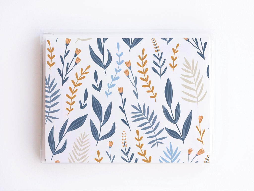 Blue, Pink, + Gold Whimsical Floral Pattern Notecards - onderkast-studio