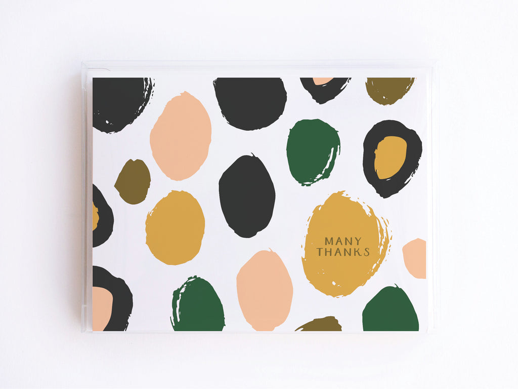 Many Thanks Spotted Pink + Green Pattern Notecards - onderkast-studio