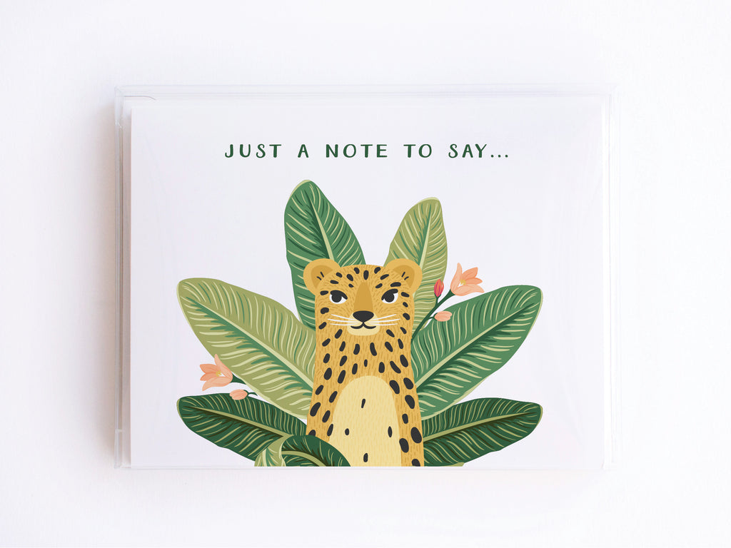 Just a Note to Say Tropical Cheetah Notecards - onderkast-studio