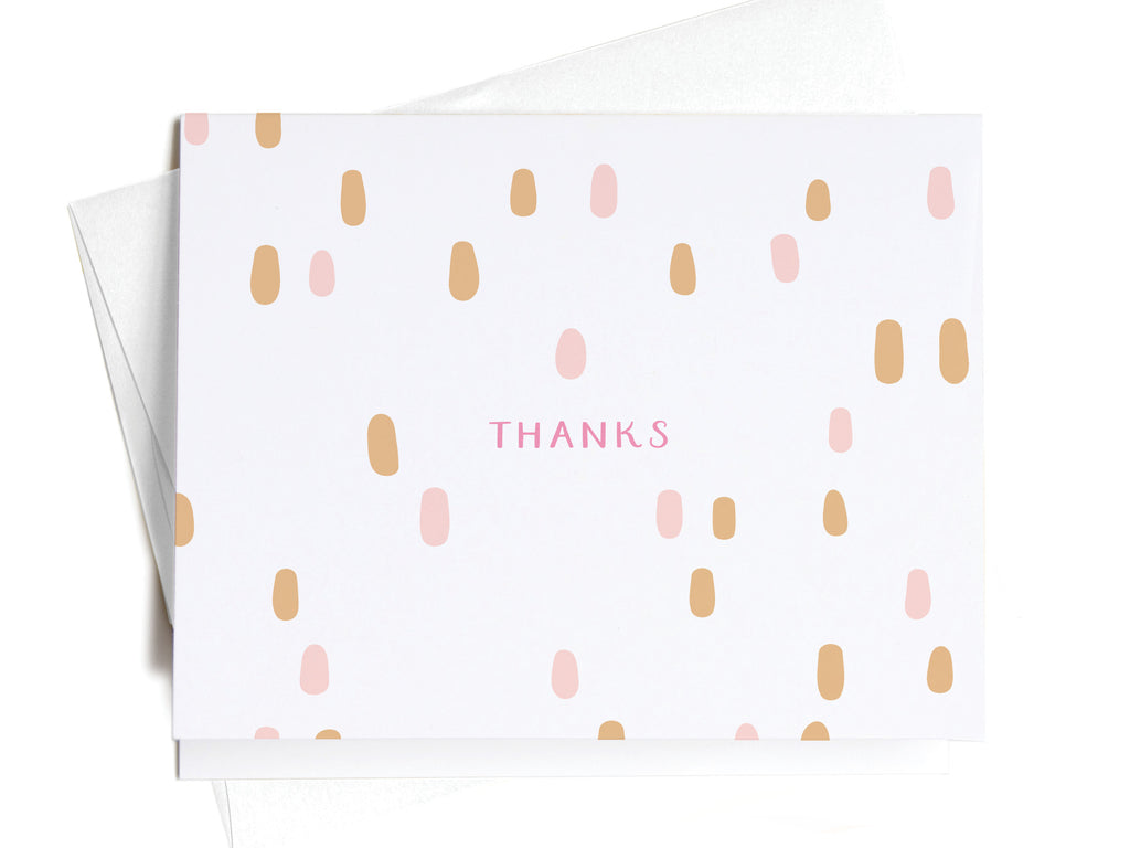 Thanks Spotted Pink + Gold Dots