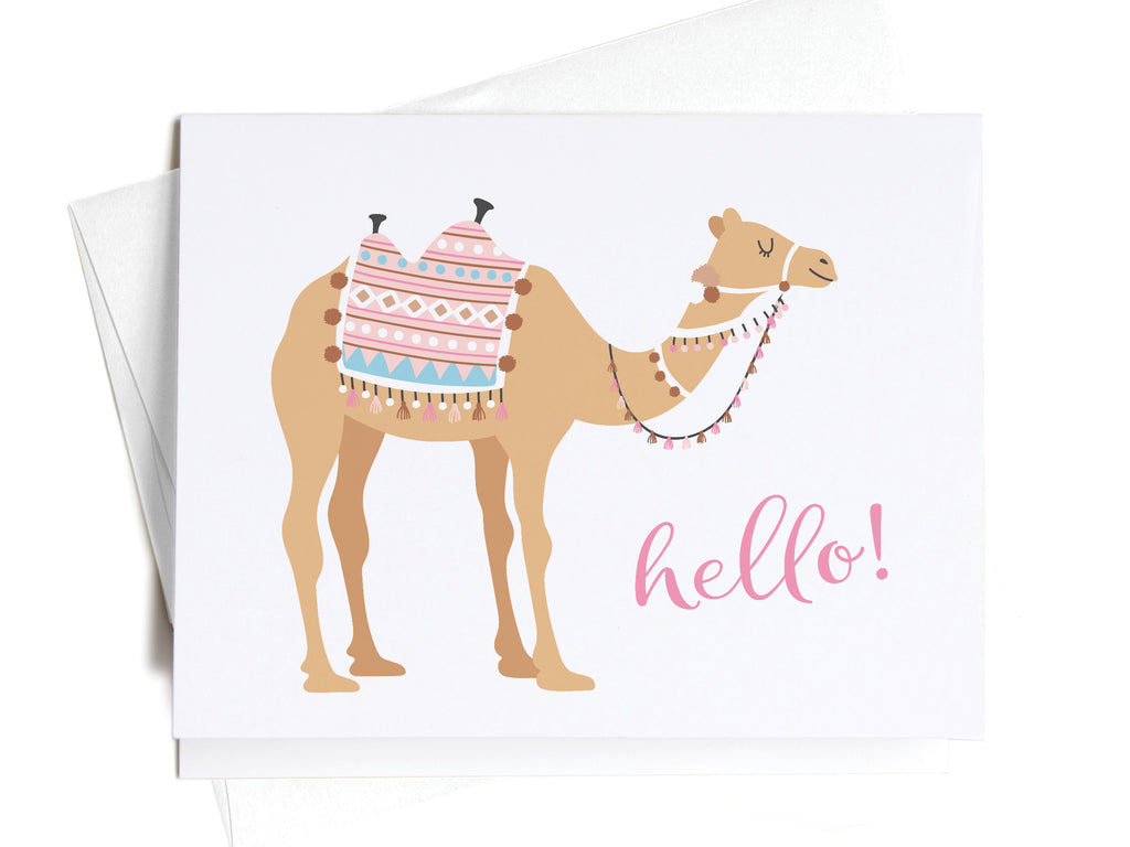 Hello! Boho Camel Notecards - onderkast-studio