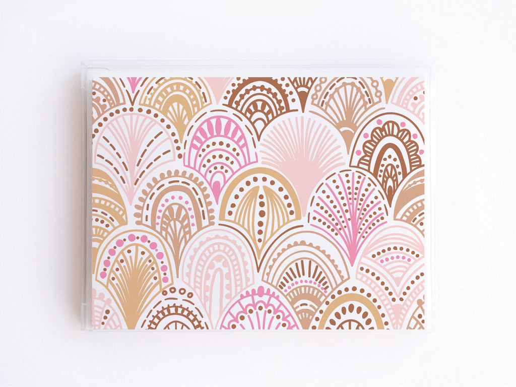 Brown, Pink, + Gold Boho Scale Pattern Notecards - onderkast-studio