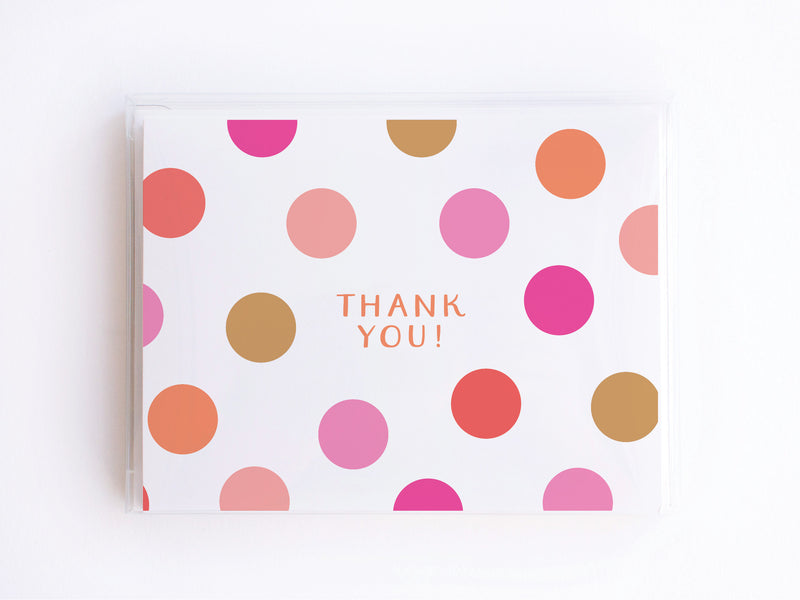 Thank You Pink Polka Dots Notecards - onderkast-studio