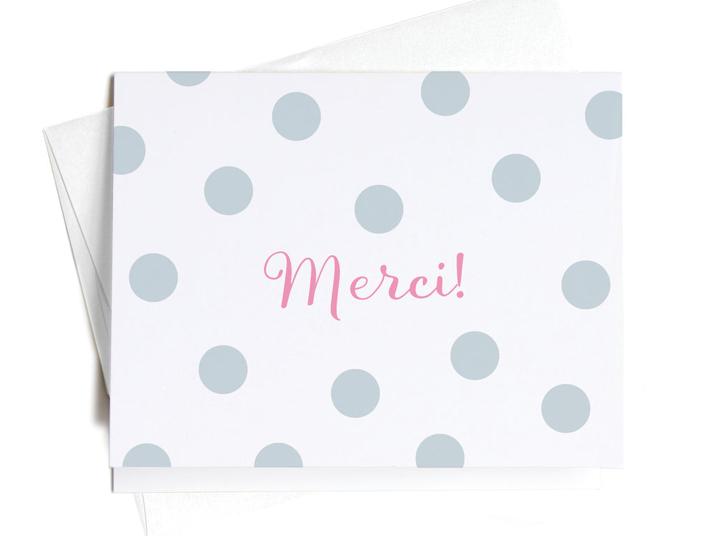Merci! French Blue Polka Dots Notecards - onderkast-studio