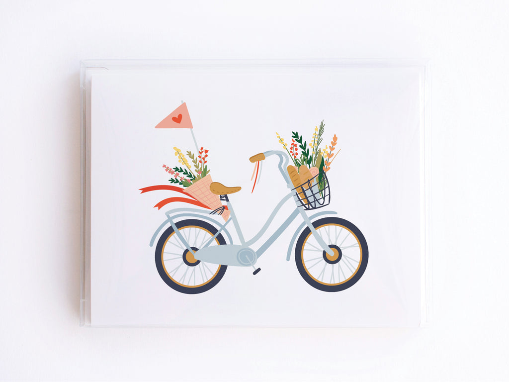 Blue Bike + Flowers Notecards - onderkast-studio