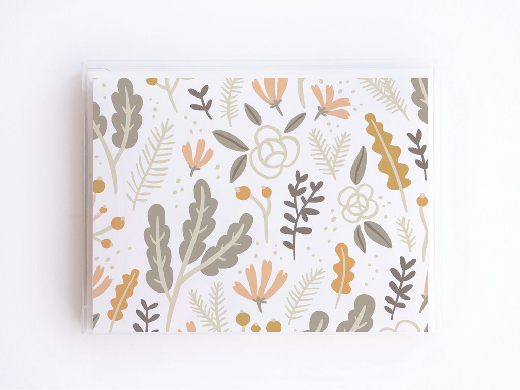 Grey + Pink Floral Foliage Pattern