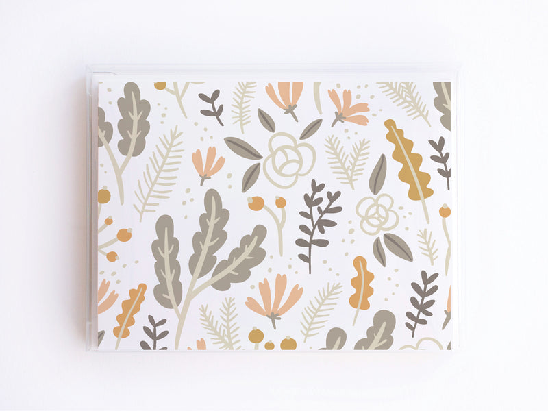 Grey + Pink Floral Foliage Pattern Notecards - onderkast-studio