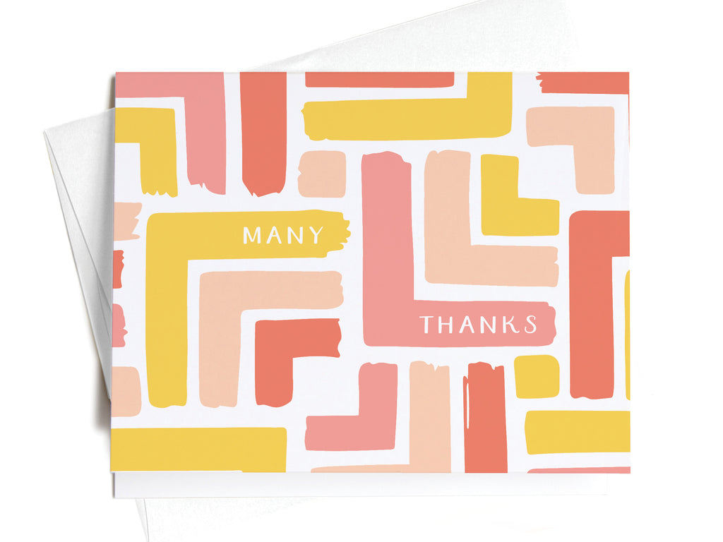 Many Thanks Modern Stripe Pattern Notecards - onderkast-studio