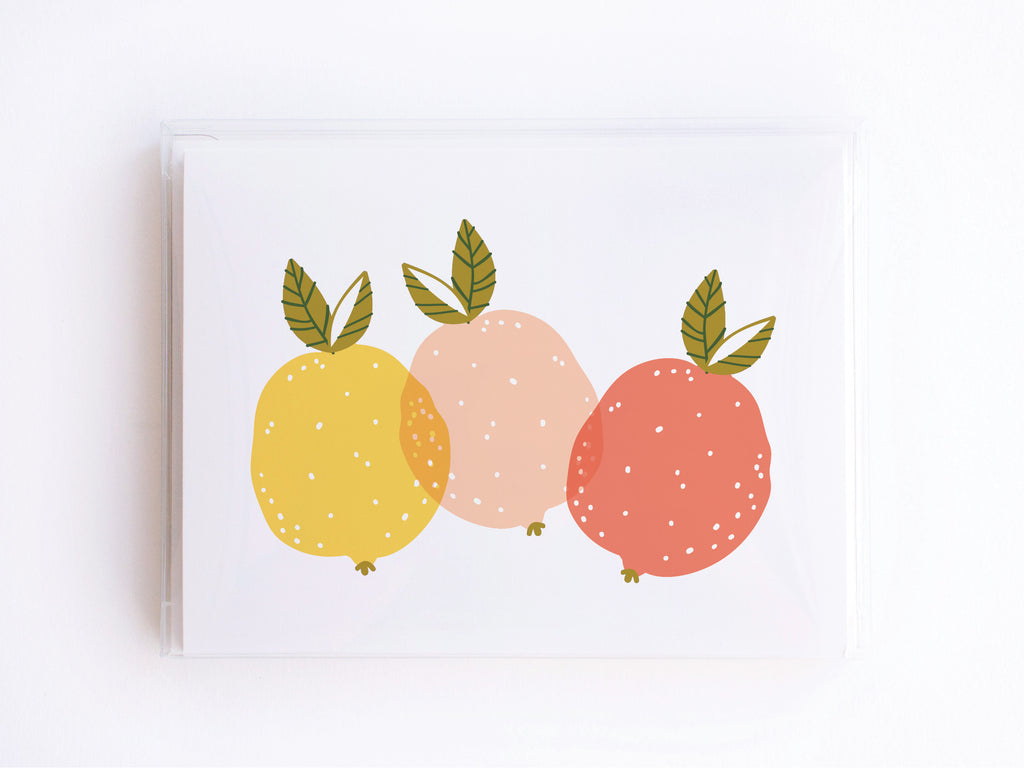 Yellow + Pink Lemons Notecards - onderkast-studio