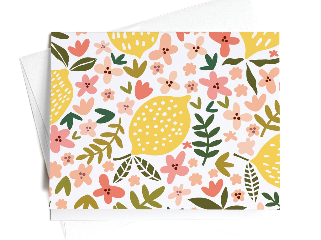 Lemon Floral Pattern Notecards - onderkast-studio