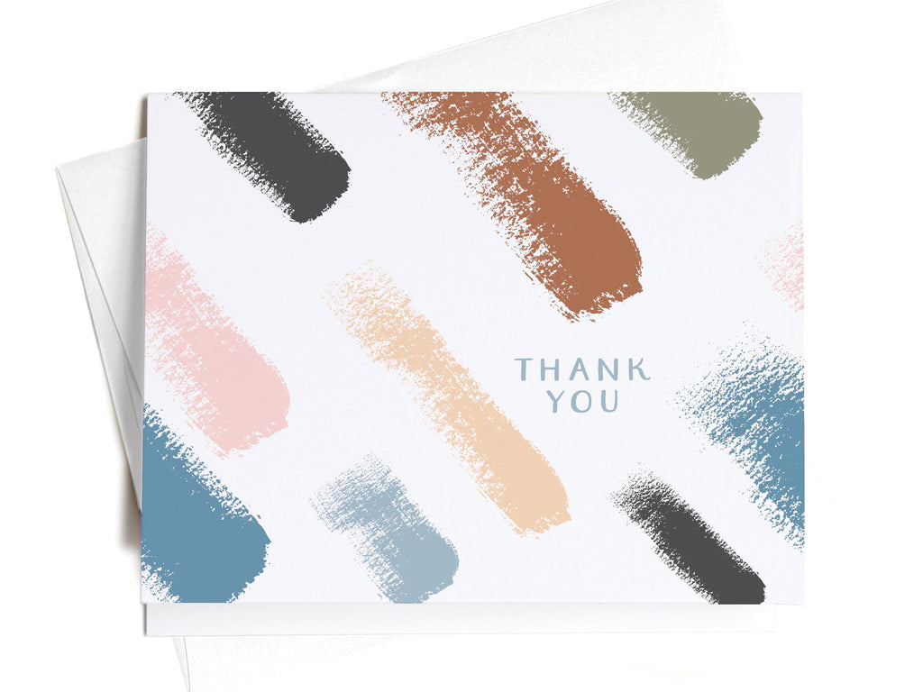 Thank You Artistic Brush Pattern Notecards - onderkast-studio