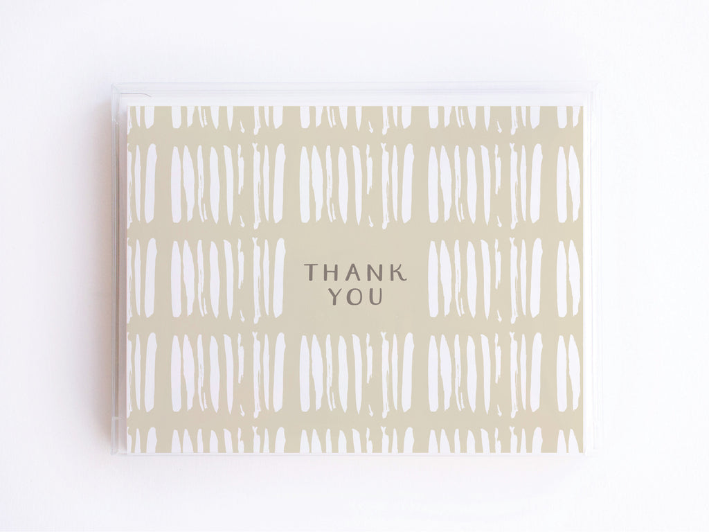 Thank You Brush Stripes Pattern Notecards - onderkast-studio