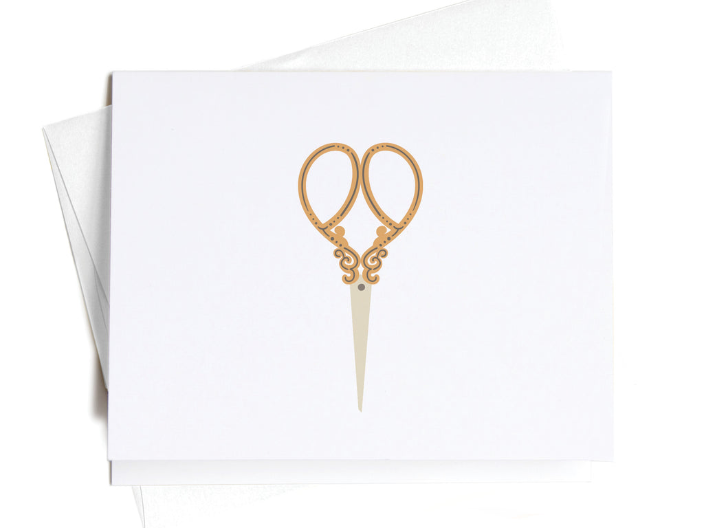 Gold Sewing Scissors Notecards - onderkast-studio