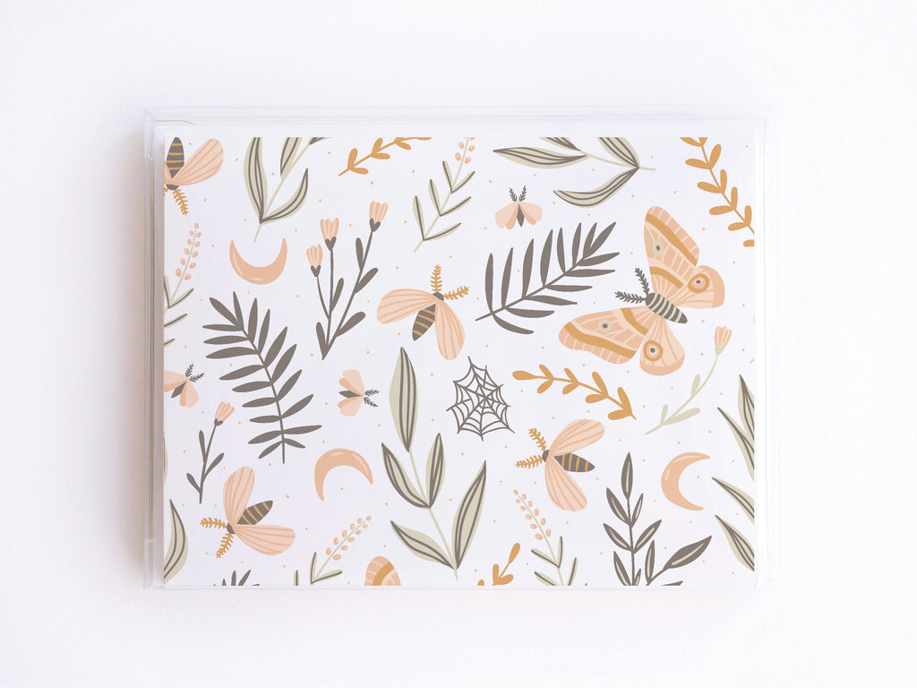 Grey, Pink, + Gold Floral Butterfly Pattern Notecards - onderkast-studio